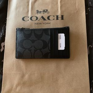 Coach Bags - Coach zip card case with signature print
